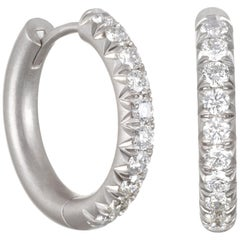 Faye Kim Platinum Micro Pave Diamond Huggy Hoops