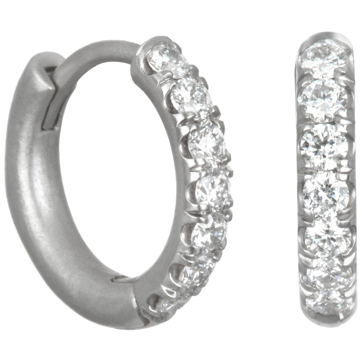 Faye Kim Platinum Diamond Micro Pave Huggy Hoop Earrings