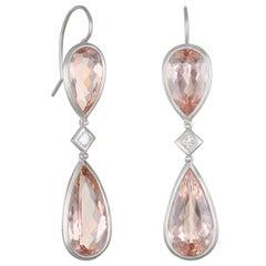 Faye Kim Platinum Morganite and Diamond Earrings