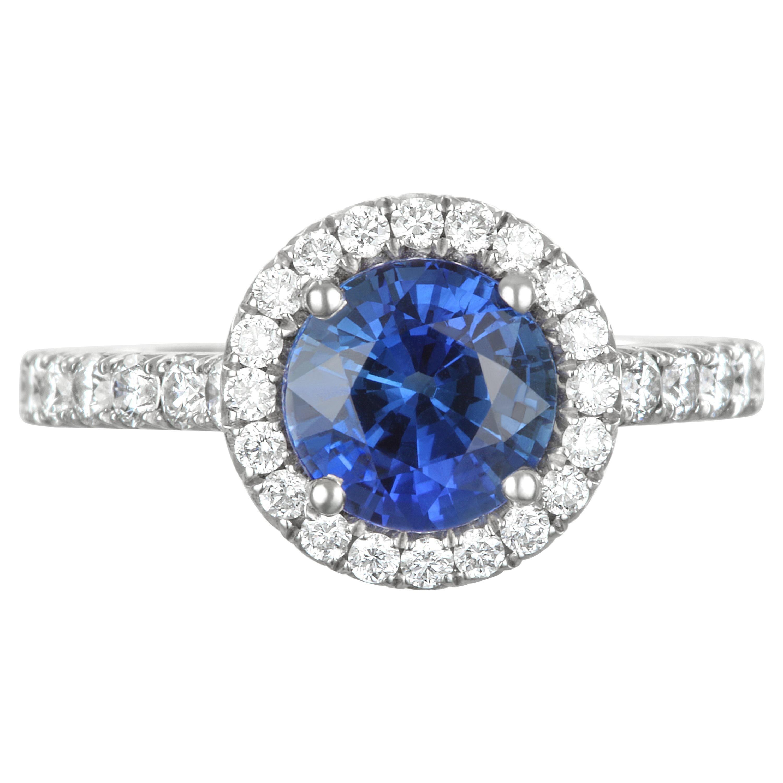 Faye Kim Platinum Blue Sapphire and Diamond Halo Engagement Ring