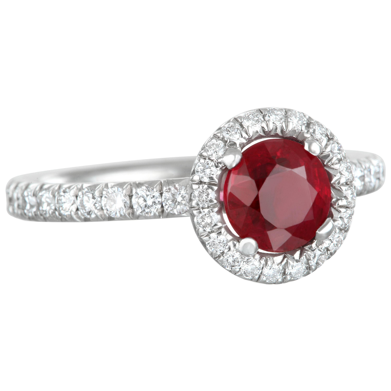 Faye Kim Platinum Ruby and Diamond Halo Engagement Ring
