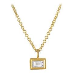 Faye Kim's 18k Gold Diamond Baguette Drop Necklace