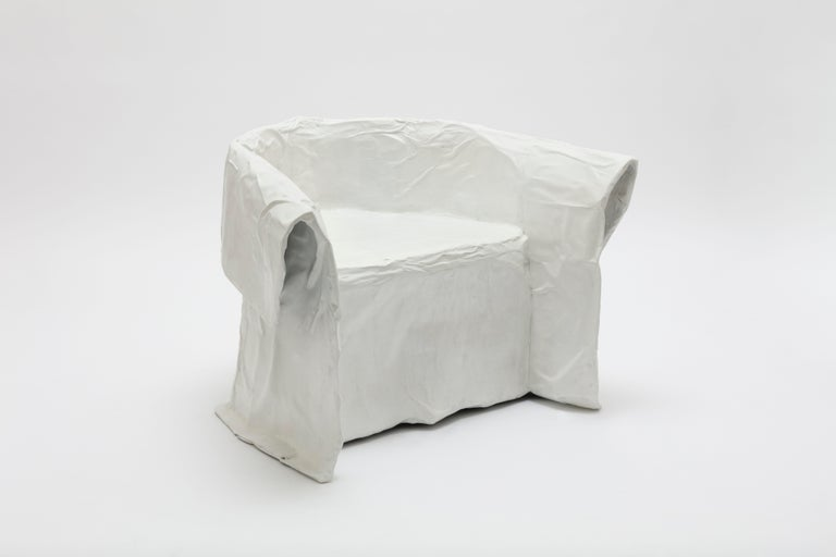 Faye Toogood [British, b. 1977] Maquette 208 / paper chair, 2020 Cast aluminum, acrylic paint Measures: 29.5 x 44 x 35.5 inches 75 x 112 x 90 cm  Faye Toogood was born in the UK in 1977 and graduated with a BA in the History of Art in 1998
