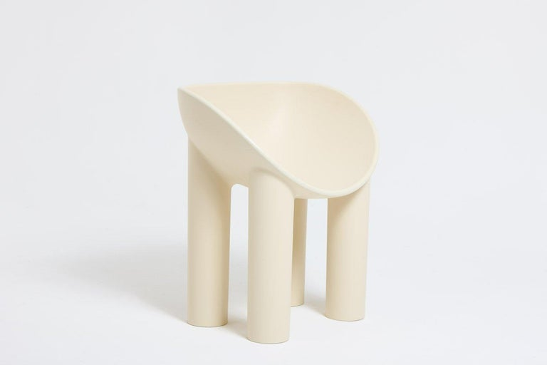 Roly-Poly Dining Chair Raw Manufactured by Faye Toogood London, 2018 Fiberglass  Measurements 68cm wide x 50cm deep x 75cm hight 26.77in wide x 19.68in deep x 29.52in hight  Colors  – Cream – Charcoal – Chalk  Concept Her furniture and objects