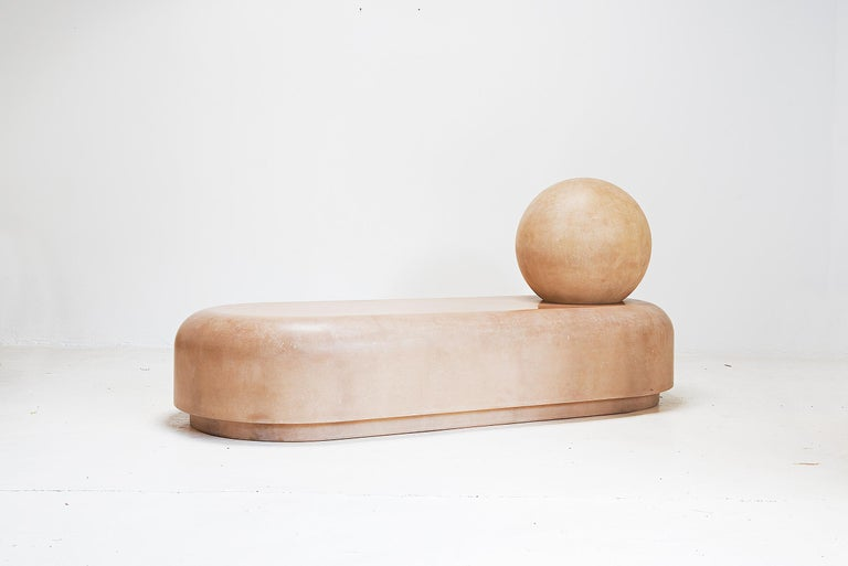 Faye Toogood Roly-poly daybed raw London, 2018 Fiberglass  Edition of 4 of 8  Measurements: 200cm wide x 85cm deep x 90cm height 78.74in wide x 33.46in deep x 35.43in height.  Concept: Her furniture and objects demonstrate a