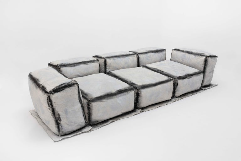 Faye Toogood [British, b. 1977] Maquette 234 / canvas and foam sofa, charcoal, 2020 Primed, washed canvas, upholstery foam, fabric paint Measures: 27.5 x 134 x 53 inches 70 x 340 x 135 cm  Faye Toogood was born in the UK in 1977 and graduated
