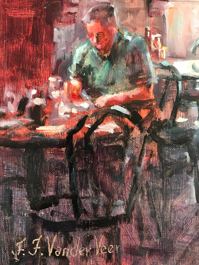 Waiting at the Blue Parrot - Painting by Faye Vander Veer