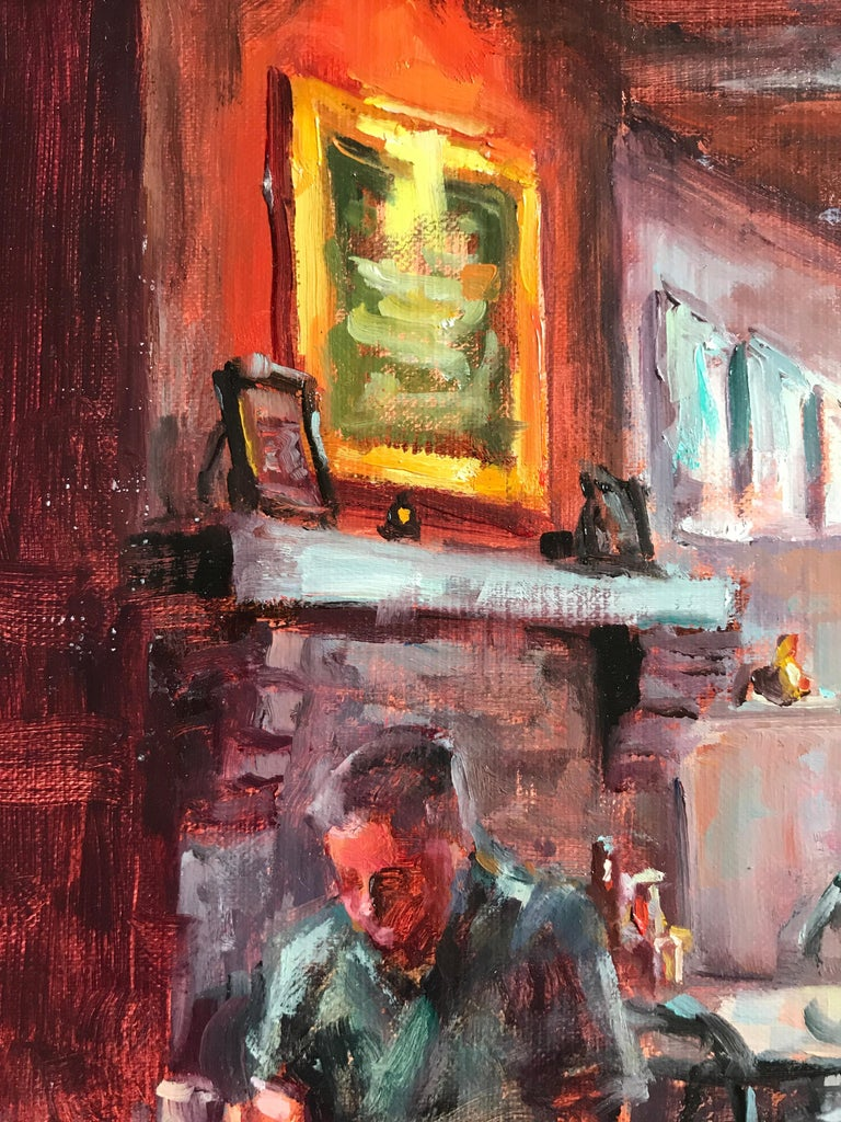 Waiting at the Blue Parrot - Abstract Impressionist Painting by Faye Vander Veer
