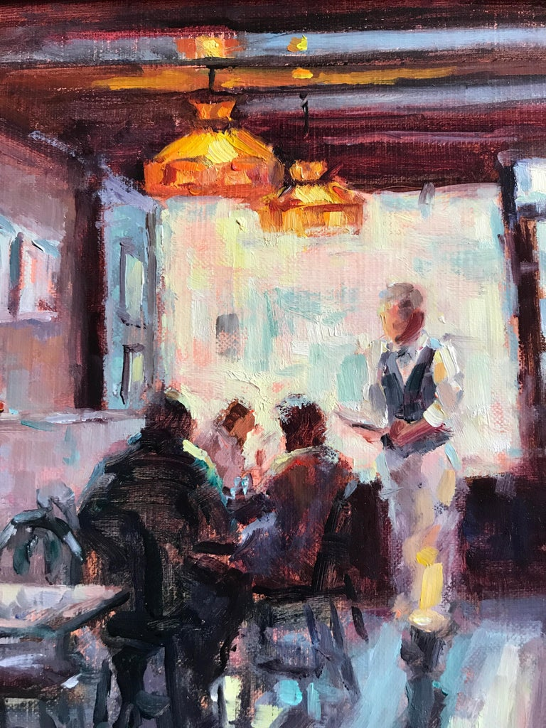 Waiting at the Blue Parrot - Black Interior Painting by Faye Vander Veer