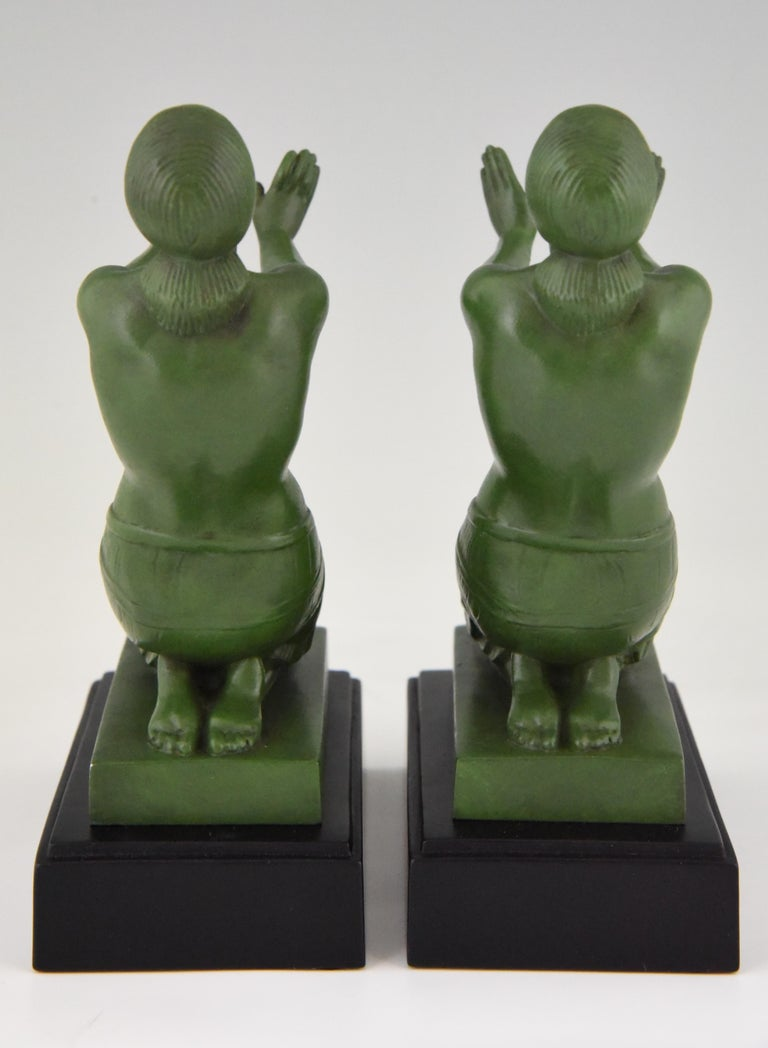 Patinated Fayral Pierre Le Faguays Art Deco Bookends with Kneeling Nudes, 1930 For Sale