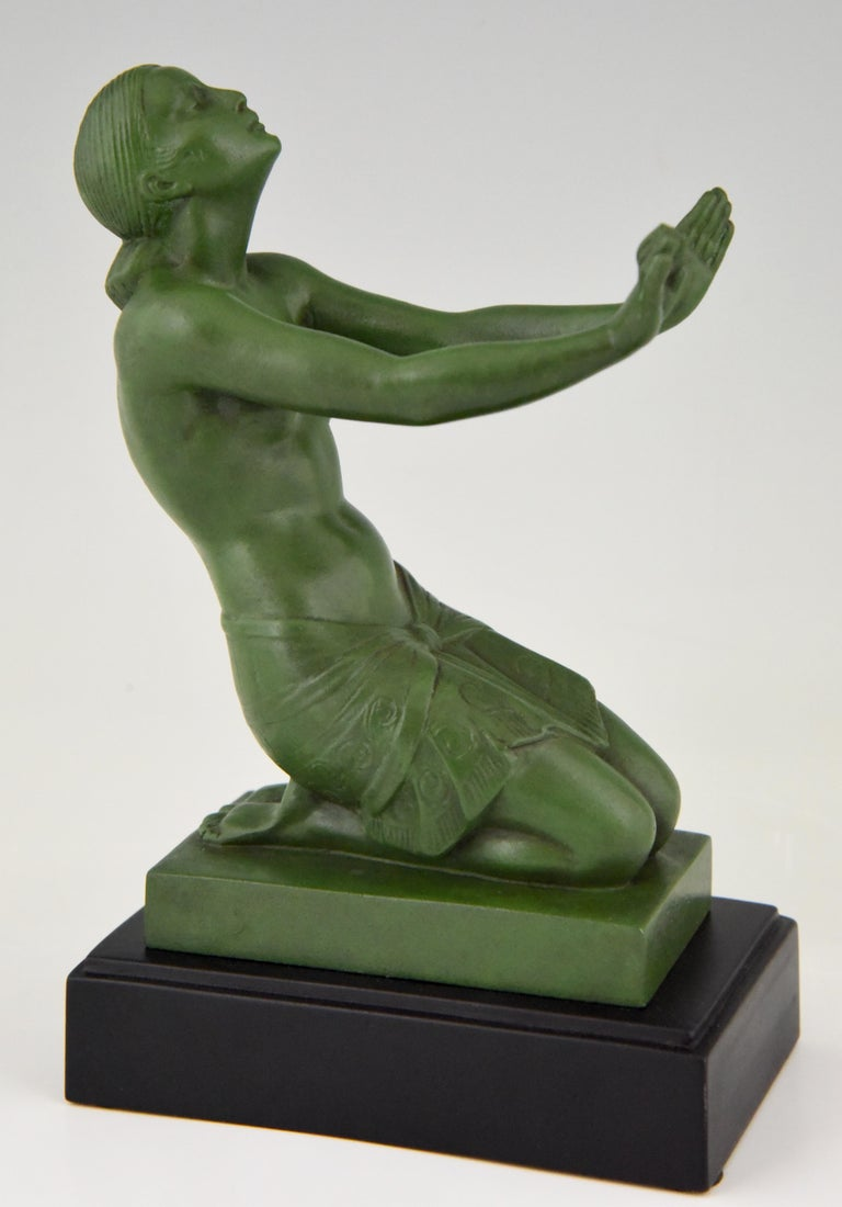 20th Century Fayral Pierre Le Faguays Art Deco Bookends with Kneeling Nudes, 1930 For Sale