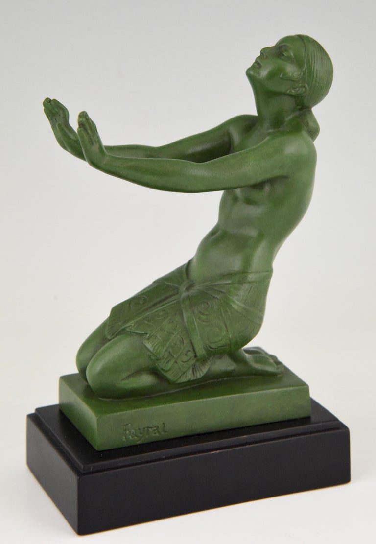 Metal Fayral Pierre Le Faguays Art Deco Bookends with Kneeling Nudes, 1930 For Sale
