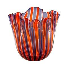 Fazzoletto a Canne Large Vase in Indigo, Orange, Crystal by Fulvio Bianconi