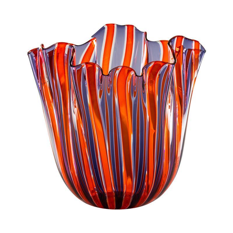 Fazzoletto a Canne Small Vase in Indigo, Orange, Crystal by Fulvio Bianconi