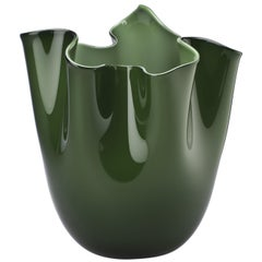 Fazzoletto Glass Vase in Apple Green by Fulvio Bianconi & Paolo Venini