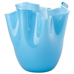 Fazzoletto Glass Vase in Aquamarine by Fulvio Bianconi and Paolo Venini