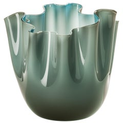 Fazzoletto Glass Vase in Grey and Aquamarine by Fulvio Bianconi & Paolo Venini