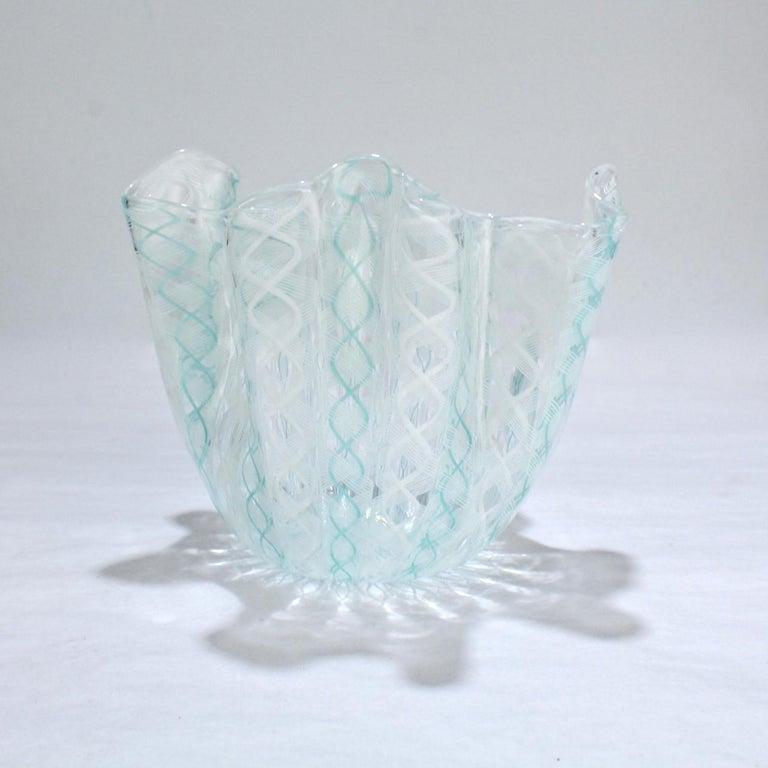 Mid-Century Modern Fazzoletto Handkerchief Vase by Fulvio Bianconi & Paolo Venini for Venini Glass For Sale