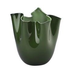 Fazzoletto Opalino Large Glass Vase in Apple Green by Fulvio Bianconi and Venini