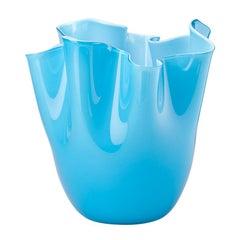 Fazzoletto Opalino Large Glass Vase in Aquamarine by Fulvio Bianconi and Venini