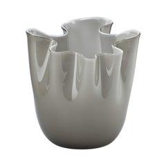 Fazzoletto Opalino Large Glass Vase in Gray by Fulvio Bianconi and Venini