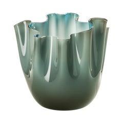 Fazzoletto Opalino Large Glass Vase in Grey/Horizon by Fulvio Bianconi & Venini
