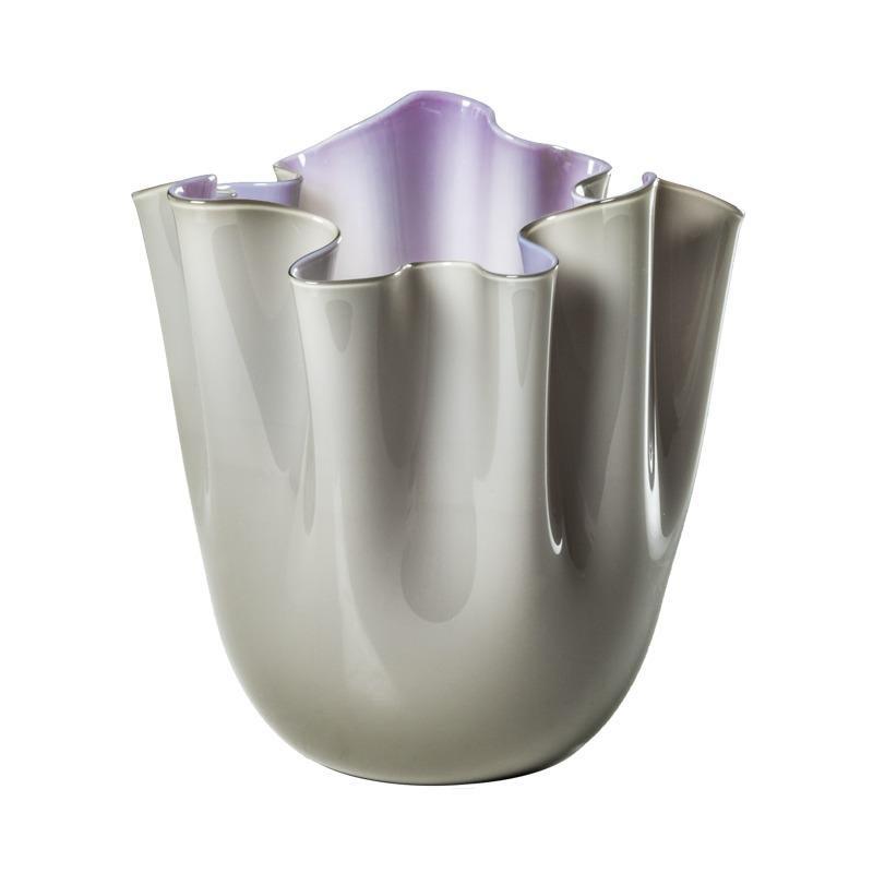 Fazzoletto Opalino Large Glass Vase in Grey/Indigo by Fulvio Bianconi and Venini