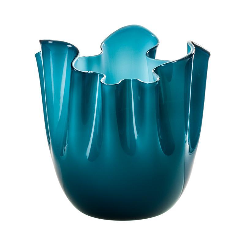 Fazzoletto Opalino Large Glass Vase in Horizon/Aquamarine by Fulvio Bianconi