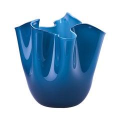 Fazzoletto Opalino Large Glass Vase in Horizon by Fulvio Bianconi and Venini