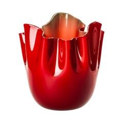 Fazzoletto Opalino Large Glass Vase in Red/Apple Green by Fulvio Bianconi