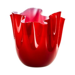 Fazzoletto Opalino Large Glass Vase in Red/Opaque Pink by Fulvio Bianconi
