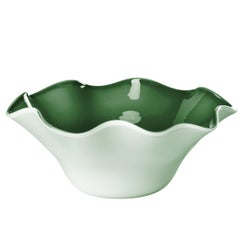 Fazzoletto Oval Glass Bowl in Milk-White and Apple Green by Venini