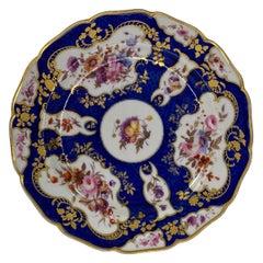FBB Worcester Porcelain Dish, Blue Scale Decoration, C. 1815