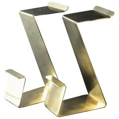 Fe Bar or Counter Height Zig-Zag Stools in Brass Set of 2 by Mtharu