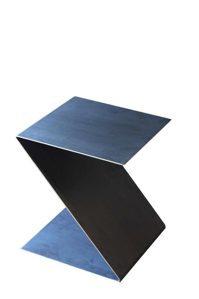 Canadian Fe Zig Zag End Table or Stool, Waxed, Raw Black Steel by Mtharu For Sale