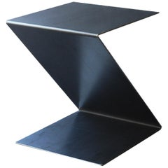 Fe Zig Zag End Table or Stool, Waxed, Raw Black Steel by Mtharu