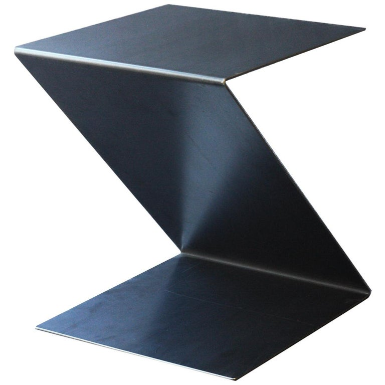 Fe Zig Zag End Table or Stool, Waxed, Raw Black Steel by Mtharu For Sale