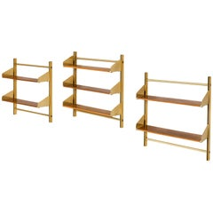 Feal Wall-Mounted Shelves in Teak and Brass