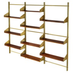 Feal Wall Unit in Teak and Brass