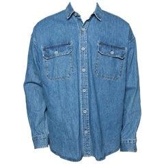 Fear Of God Indigo Light Wash Denim Long Sleeve Shirt S