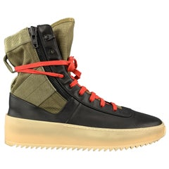 FEAR OF GOD Size 11 Black Leather & Olive Canvas Hiking Sneaker Boots