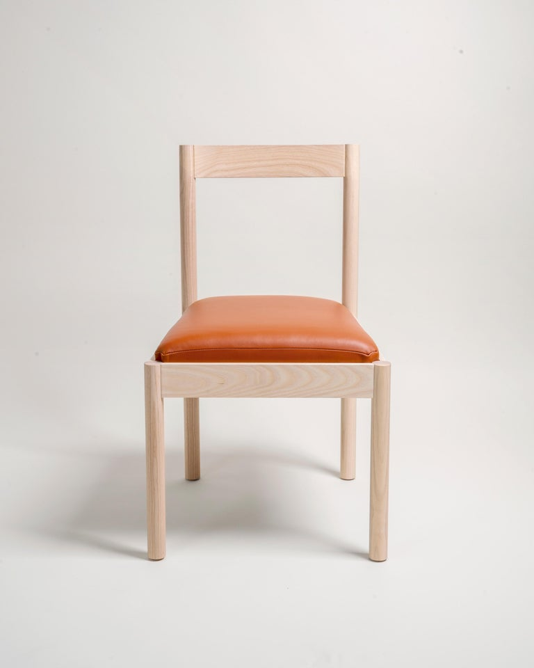 Hand-Crafted Feast Dining Chair in Solid Ash and Brass by Bowen Liu For Sale
