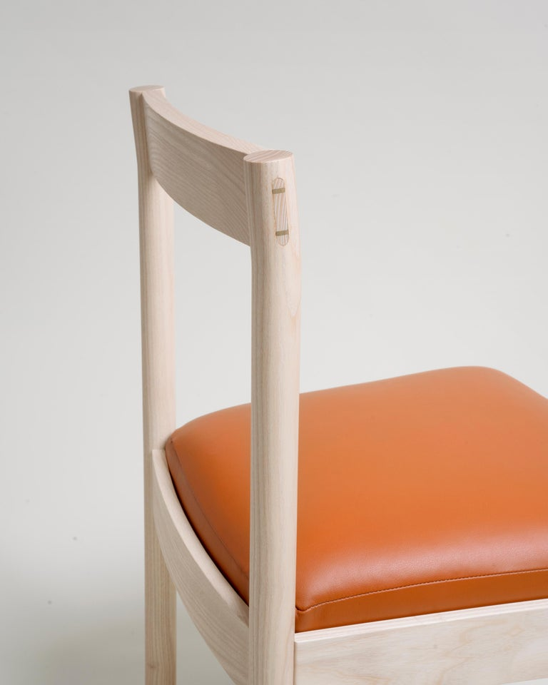 Contemporary Feast Dining Chair in Solid Ash and Brass by Bowen Liu For Sale