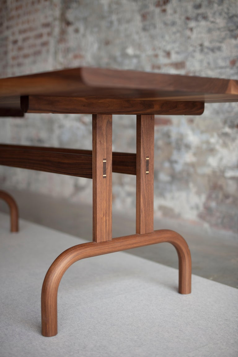 Minimalist Feast Dining Table, Solid Wood and Brass For Sale