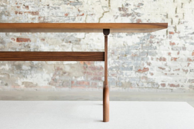 American Feast Dining Table, Solid Wood and Brass For Sale