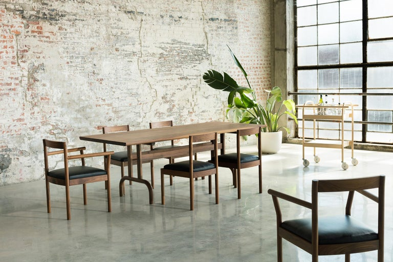 Hand-Crafted Feast Dining Table, Solid Wood and Brass For Sale