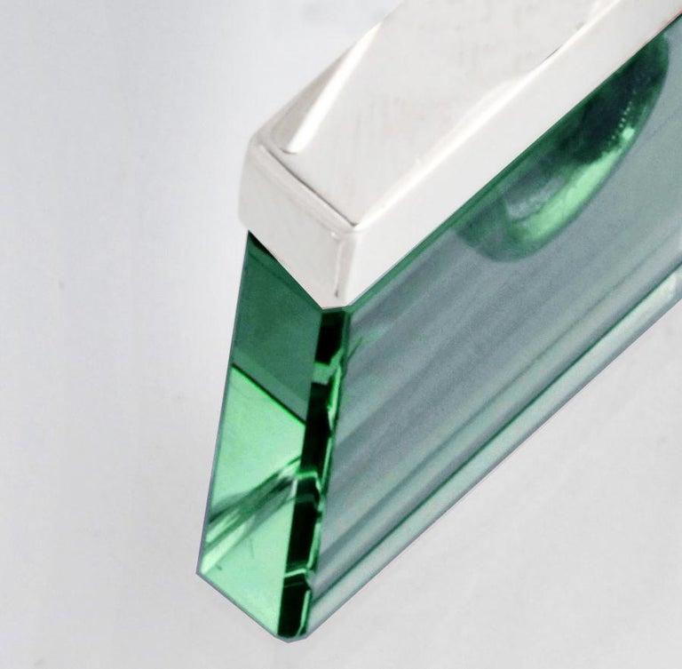Women's or Men's Feat in Vogue UA Designer Necklace with Emerald Color Green Quartz For Sale