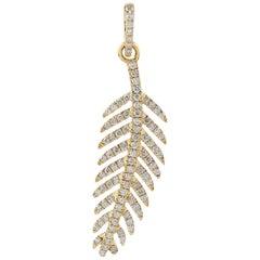 Feather 18 Karat Gold Charm Diamond Pendant Necklace