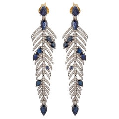 Feather Blue Sapphire Diamond Drop Earrings