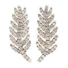 Feather Diamond 18 Karat Gold Ear Cuff Earrings